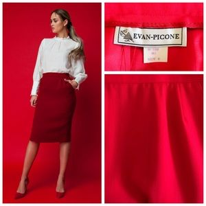 Vintage Evan Picone Red Crepe Wool Pencil Skirt 8